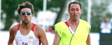 Xavi image with Raul Sabaté, guide which prepared the 2008 Beijing Paralympics